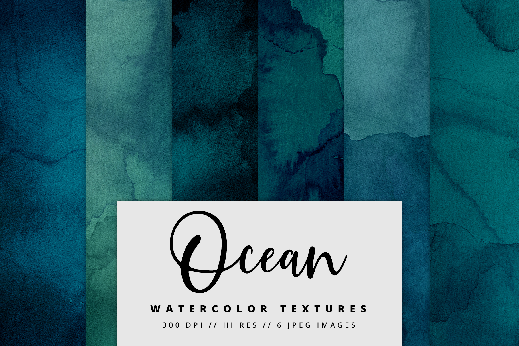 Ocean Blue Watercolor Textures | 6 Pack example image 1