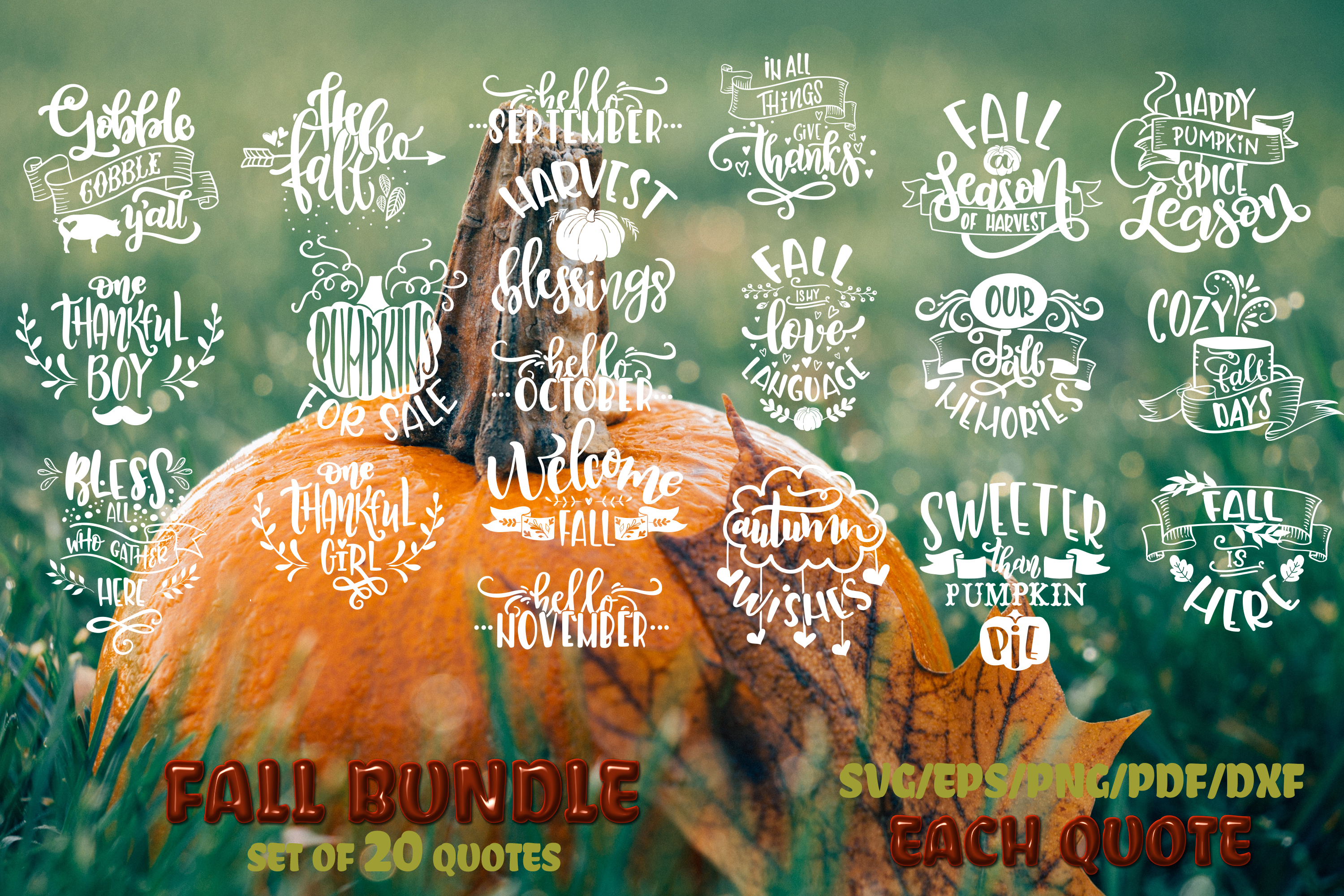 Fall svg BUNDLE BIG set of 80 quotes Autumn Thanksgiving example image 4