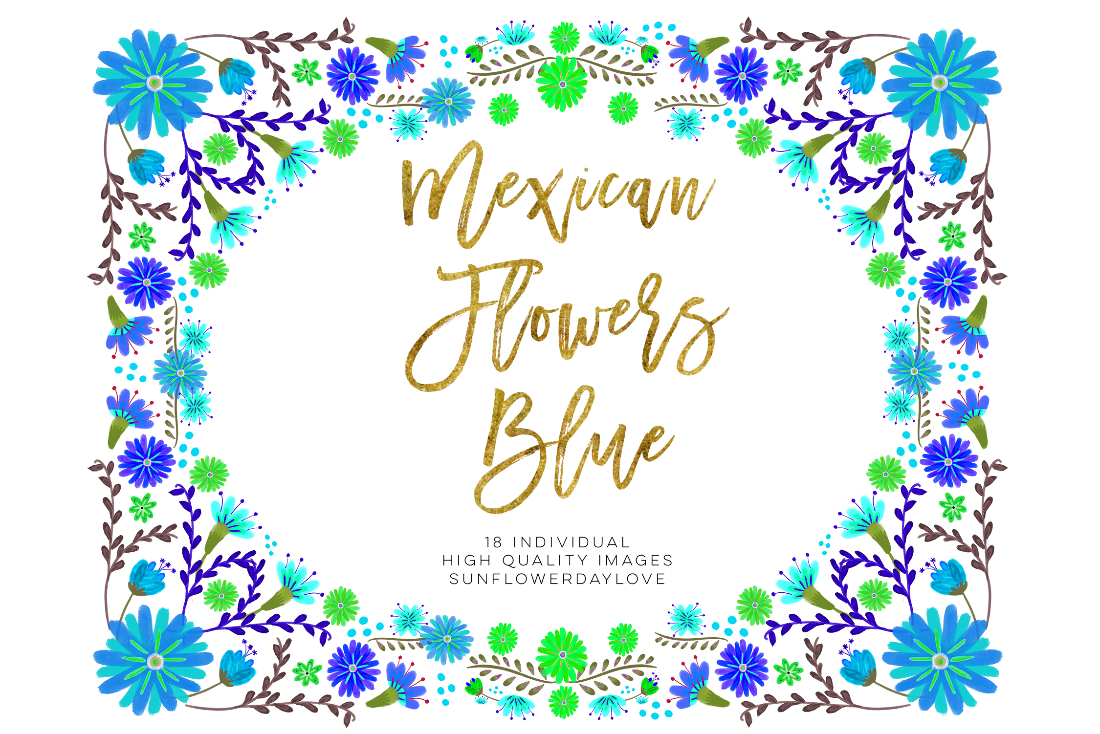 Blue Mexican Watercolor Floral clipart example image 3