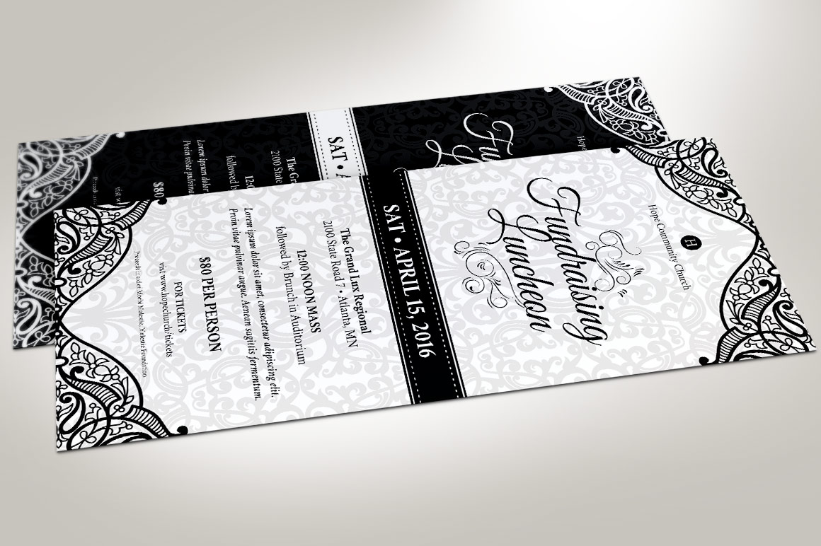 Black White Luncheon Flyer Template example image 1