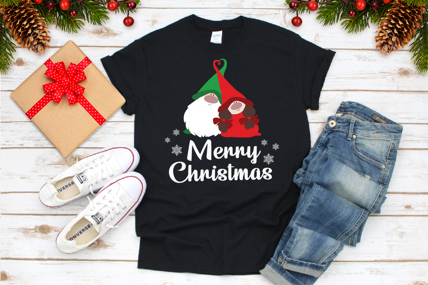 Merry Christmas, Gnome In Love Svg example image 3