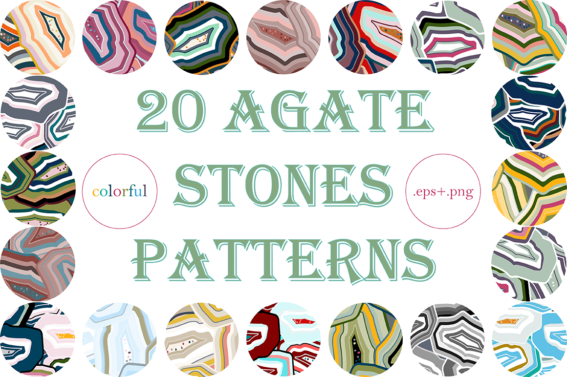 20 Agate Stones Texture Patterns example image 1