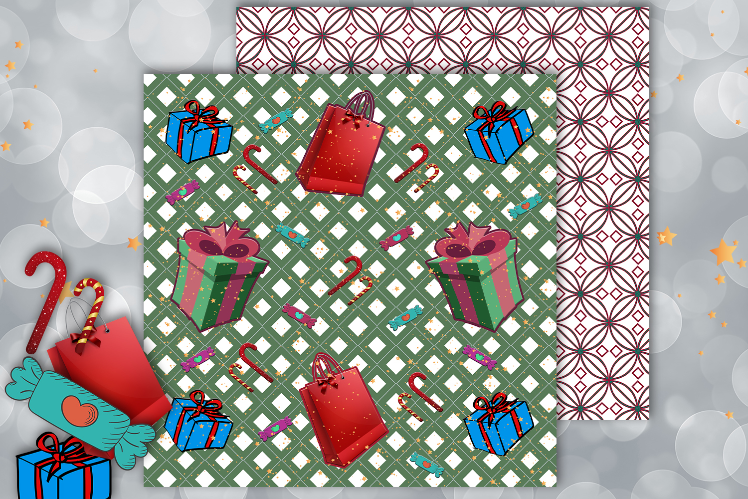Christmas papers, jingle all the way, Scrapbook,BLACK FRIDAY example image 4