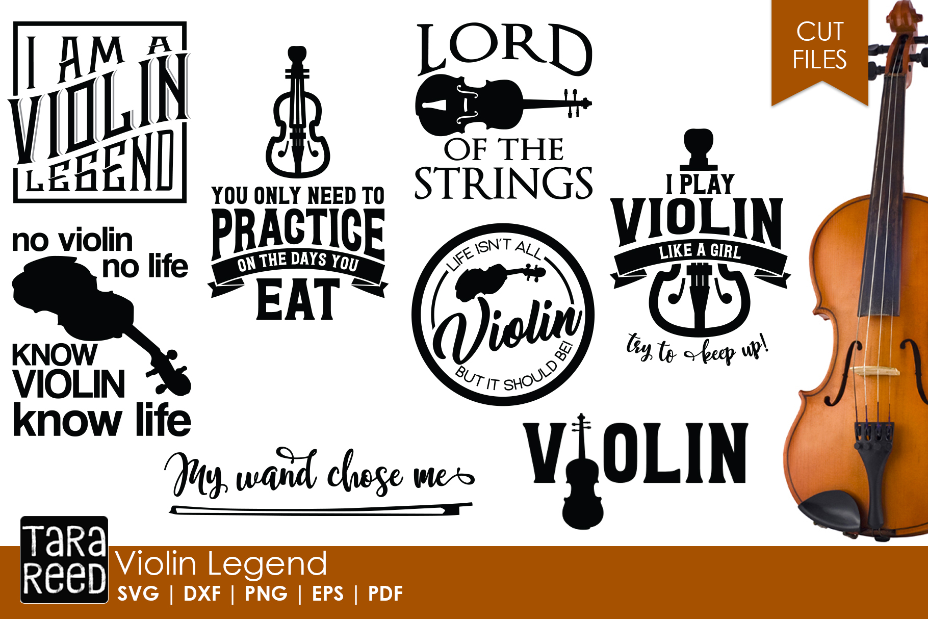 Violin Legend - Violin SVG & Cut Files for Crafters example image 1