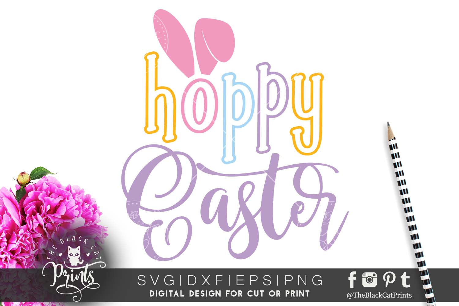 Hoppy Easter SVG DXF PNG EPS example image 1