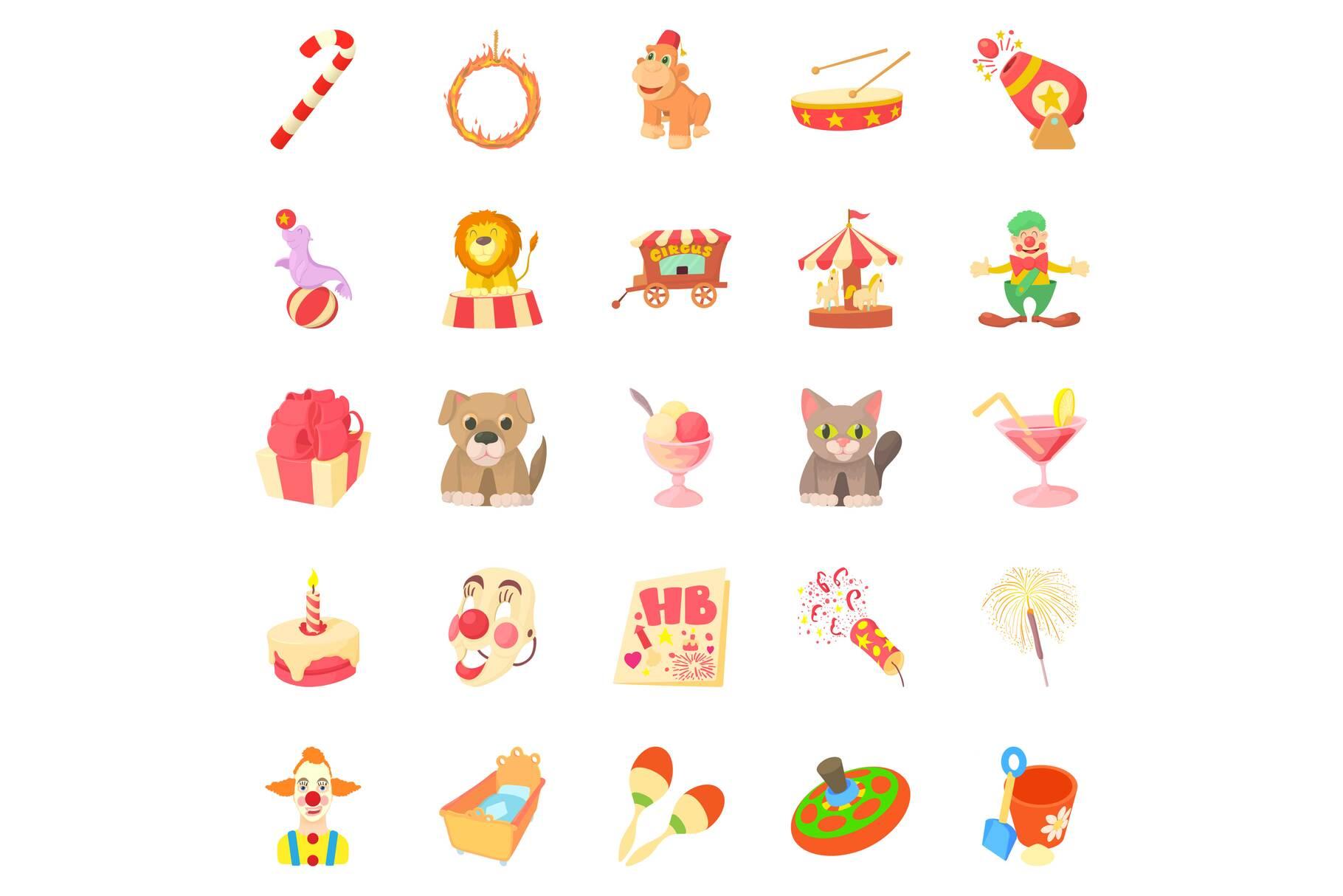 Bairn icons set, cartoon style example image 1
