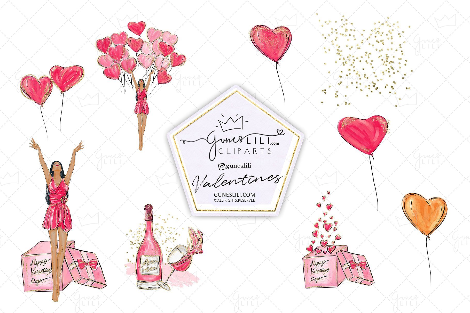 Cute Valentine Clipart Valentines Day Clipart Scrapbooking example image 2