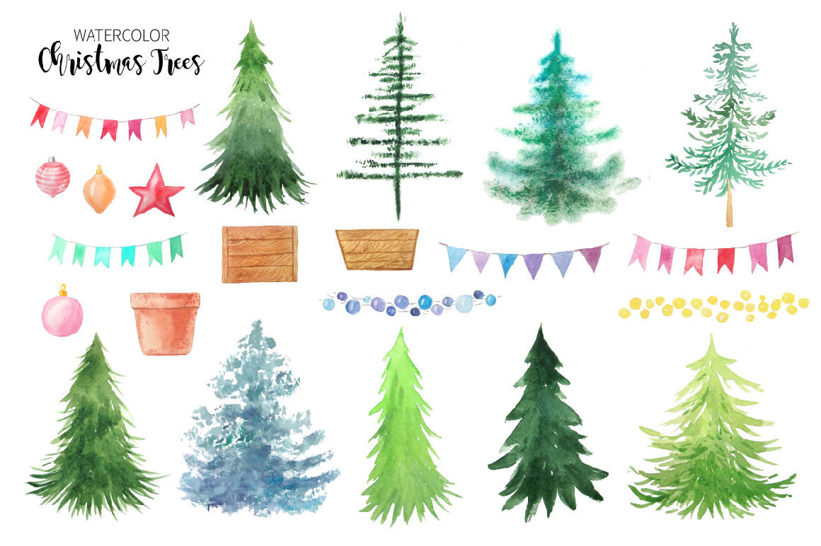 Watercolor Christmas Trees example image 2
