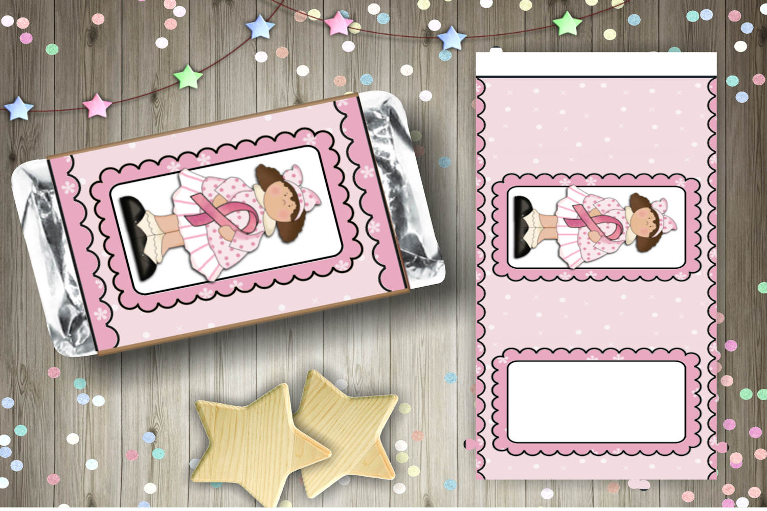 Breast Cancer Girl Candy Bar Wrapper Set example image 3