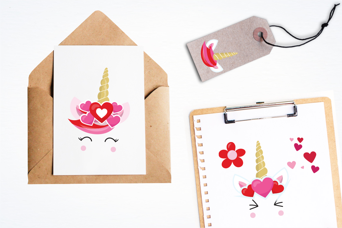 Love Unicorn faces graphic and illustrations example image 2