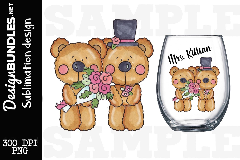 Wedding Bears Sublimation Design example image 1