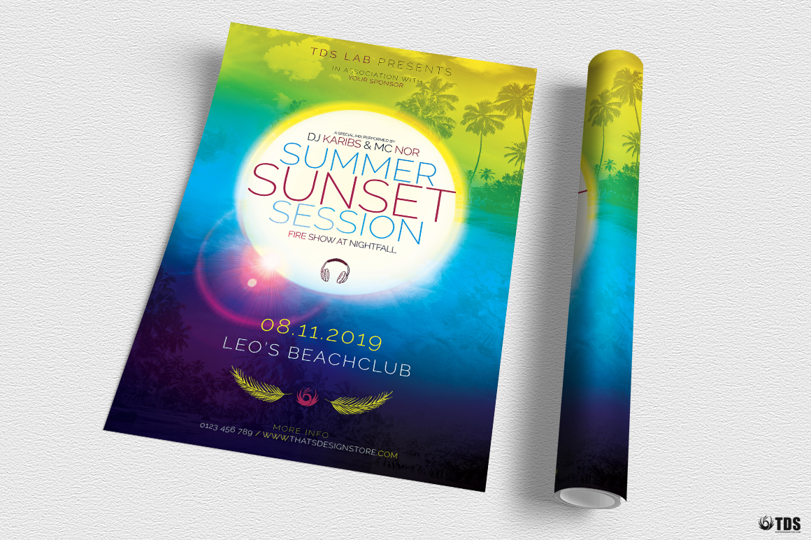 Summer Sunset Flyer Template example image 3