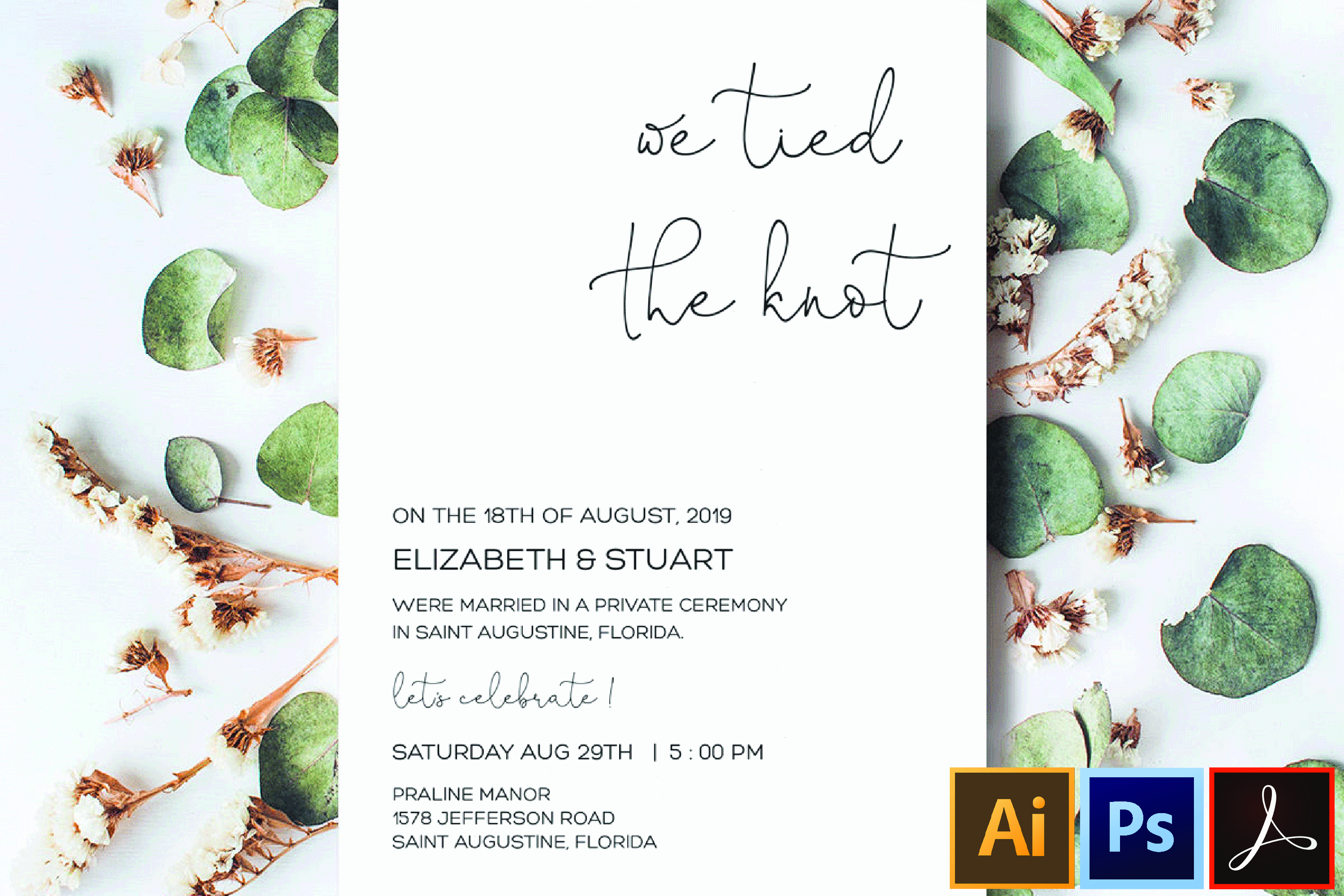 We Tied the Knot Invitation Template, Elopement Reception example image 1