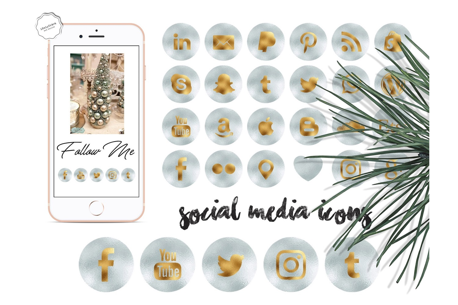Metallic Minty Social Media Icons example image 1