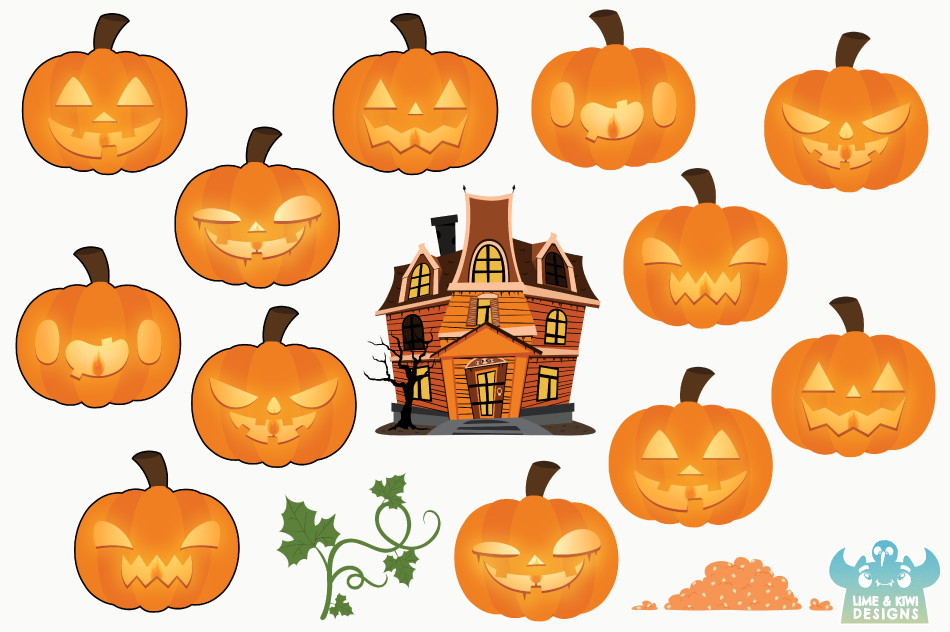 Jack O' Lanterns Clipart, Instant Download Vector Art example image 2