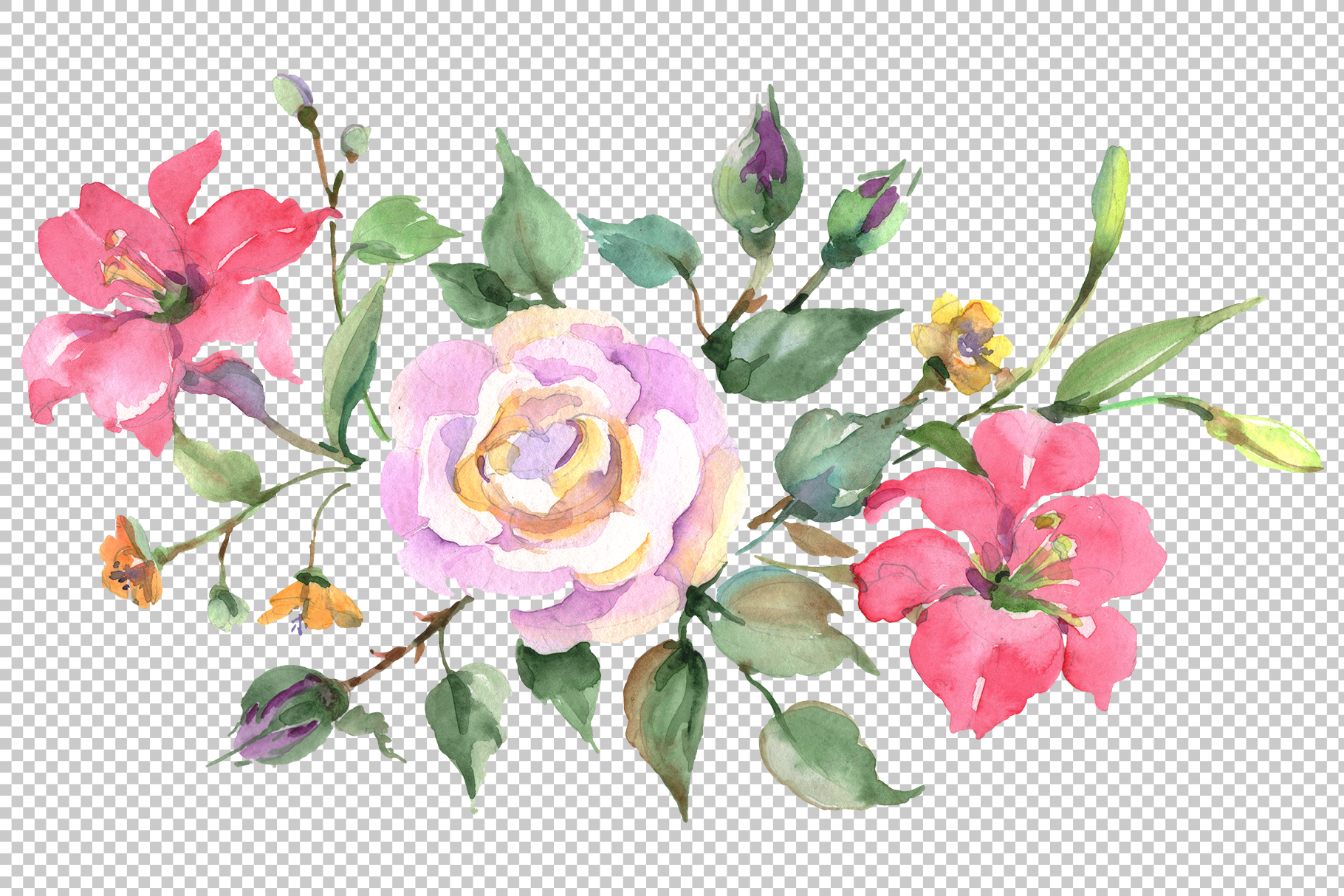Bouquet with pink rose Watercolor png example image 2