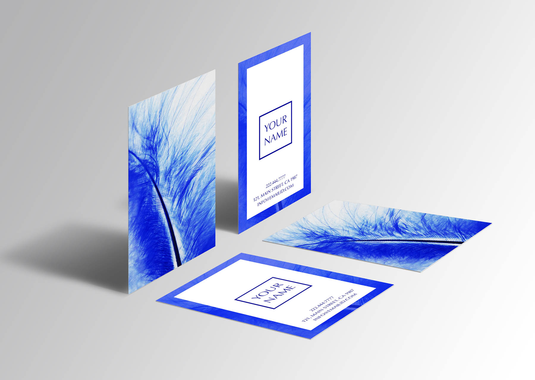 Beautiful Blue Feather Business Card Example Image 1