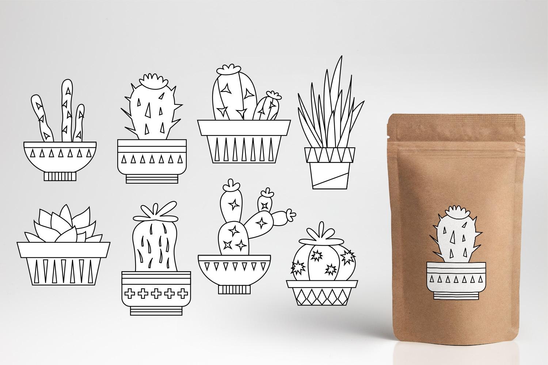 Succulent cactus clip art illustrations bundle example image 3