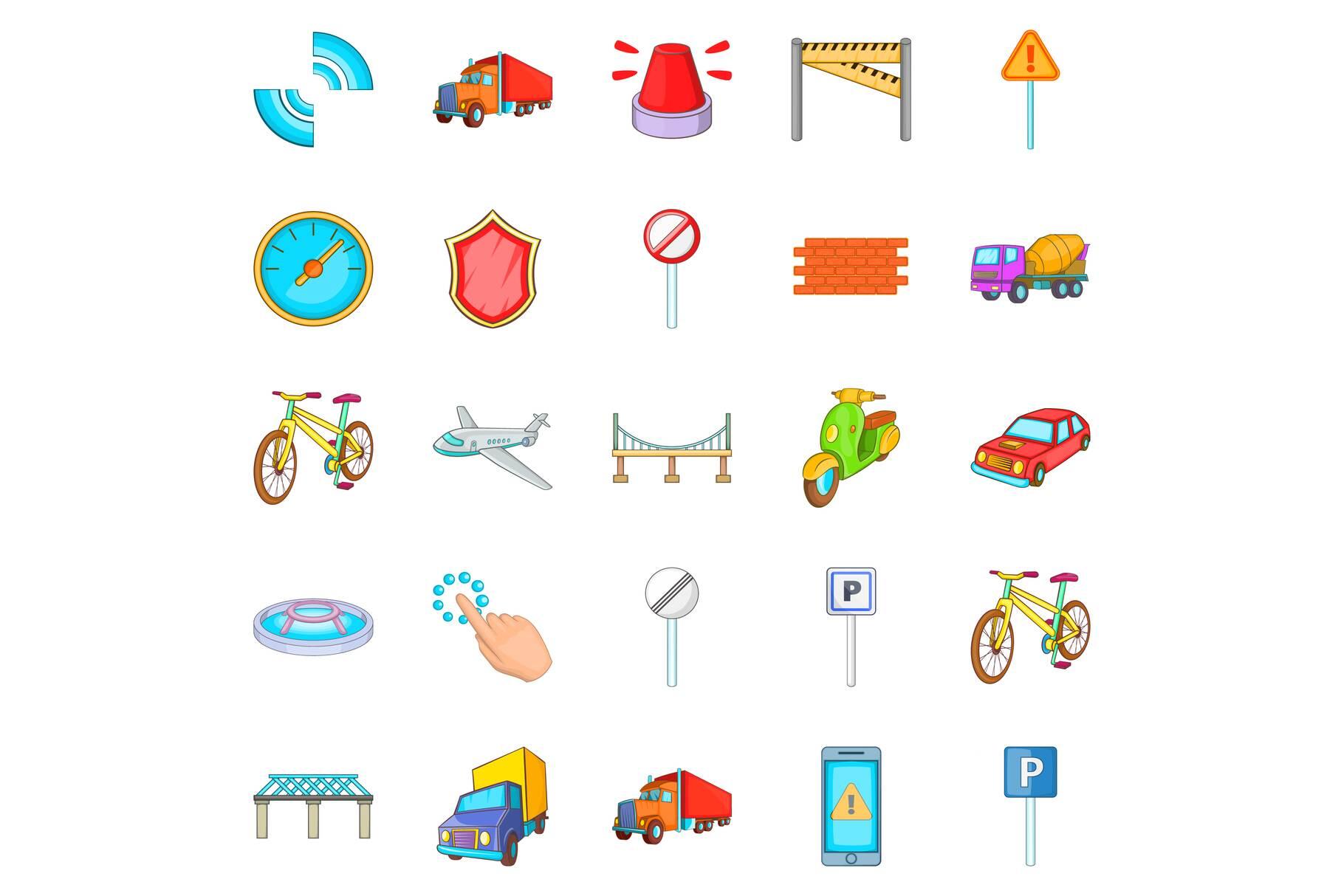 City icons set, cartoon style example image 1