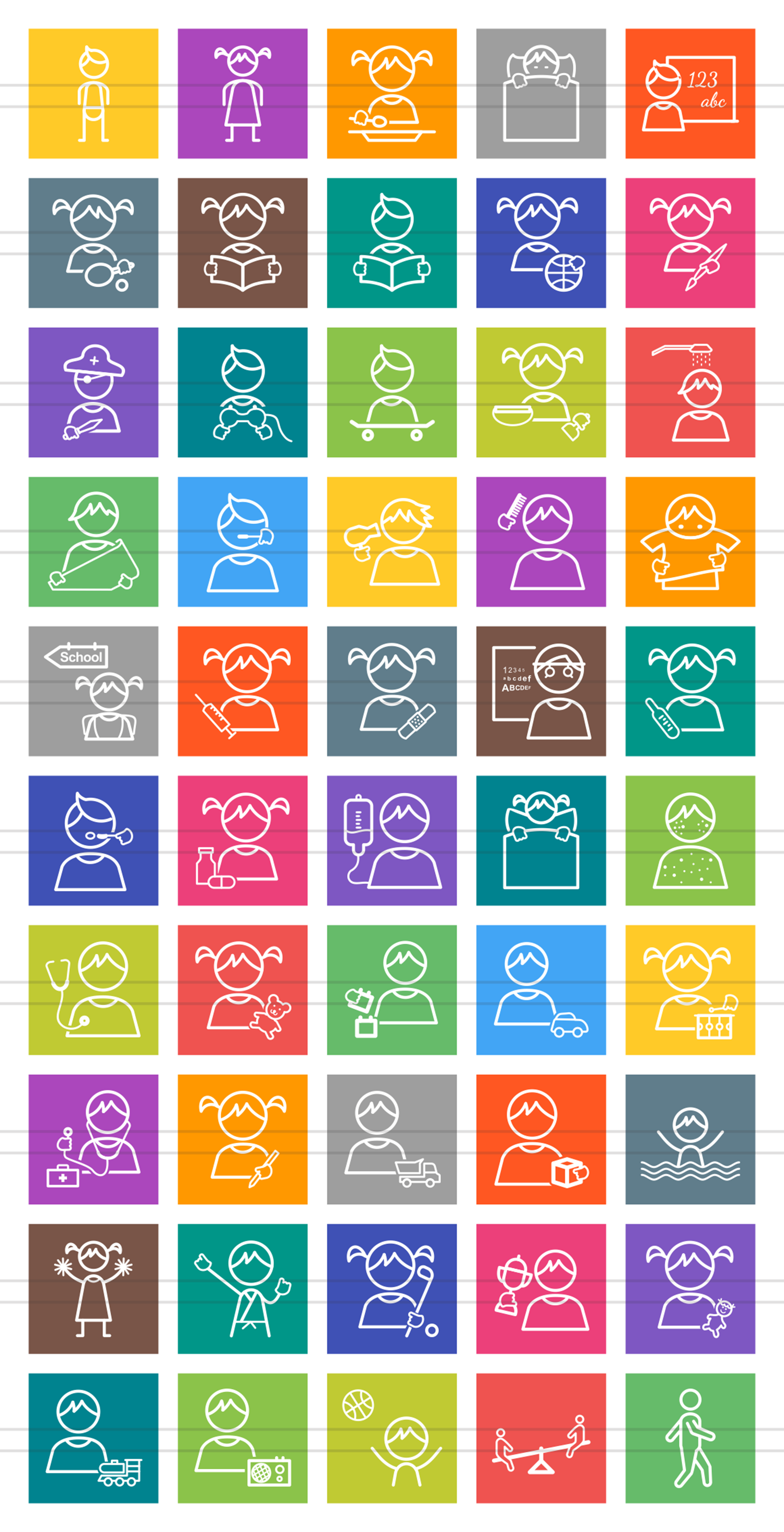50 Kids Line Multicolor B/G Icons example image 2