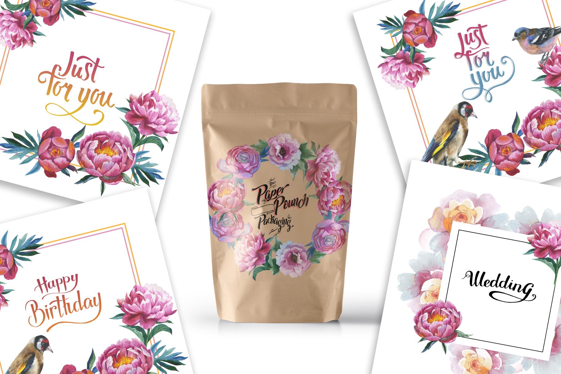 Colorful peonies JPG watercolor flower set  example image 4