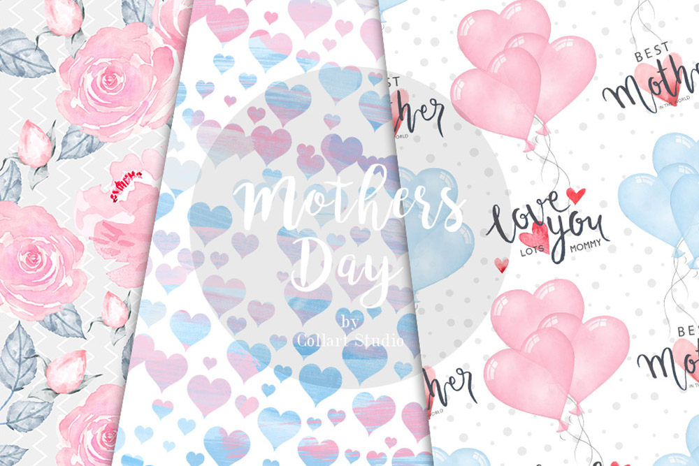 Mother's Day Digital Papers, Mother Child seamless patterns example image 5