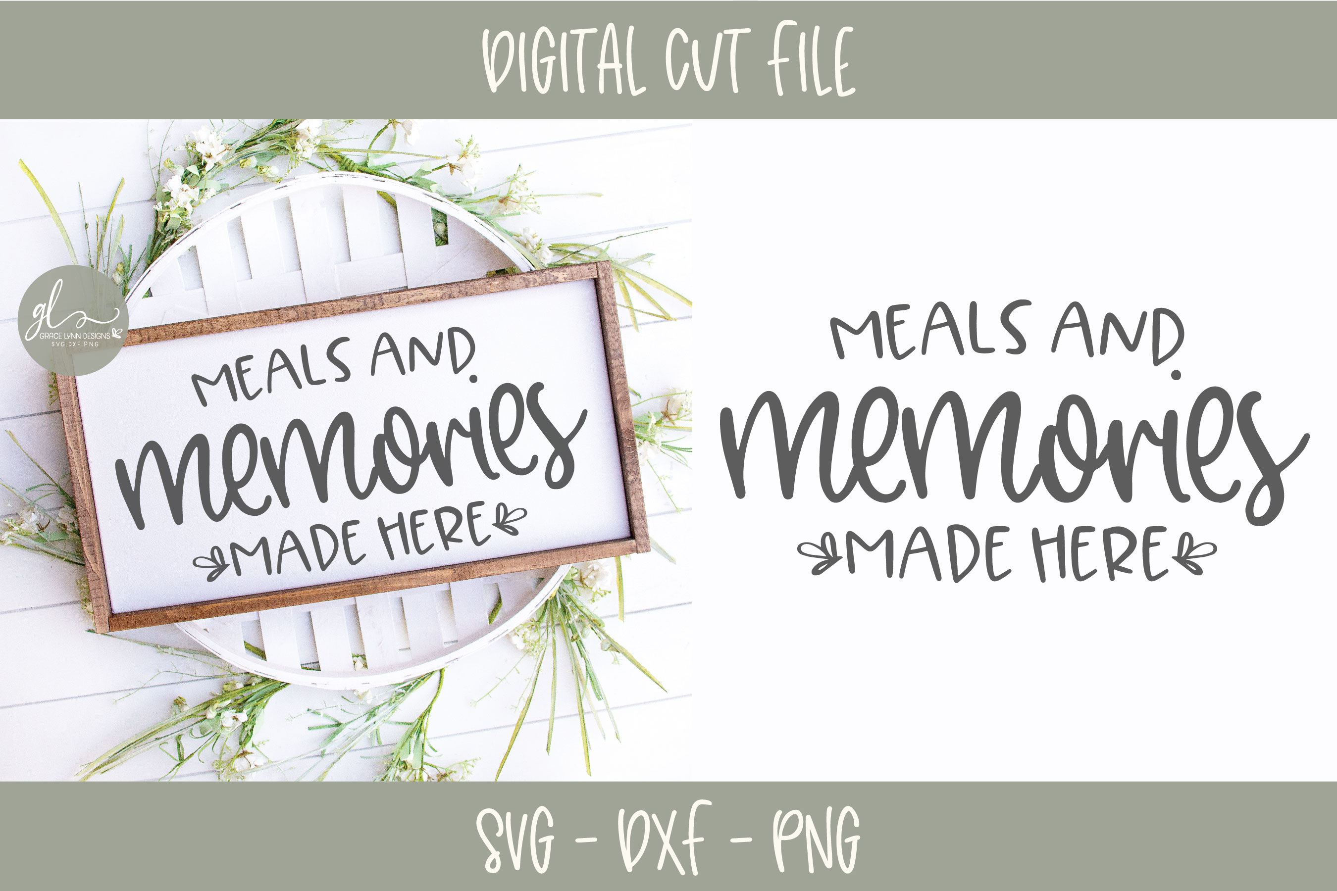 Meals And Memories Made Here - Kitchen SVG Cut File example image 1