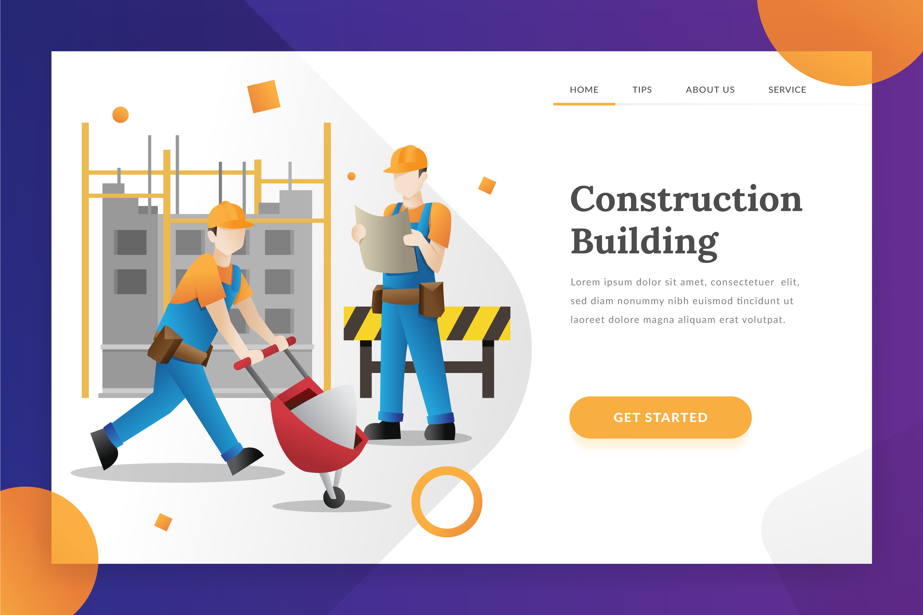 Construction building - landing page illustration example image 1