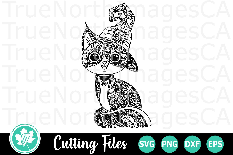 Zentangle Halloween Cat - An Zentangle SVG Cut File example image 1