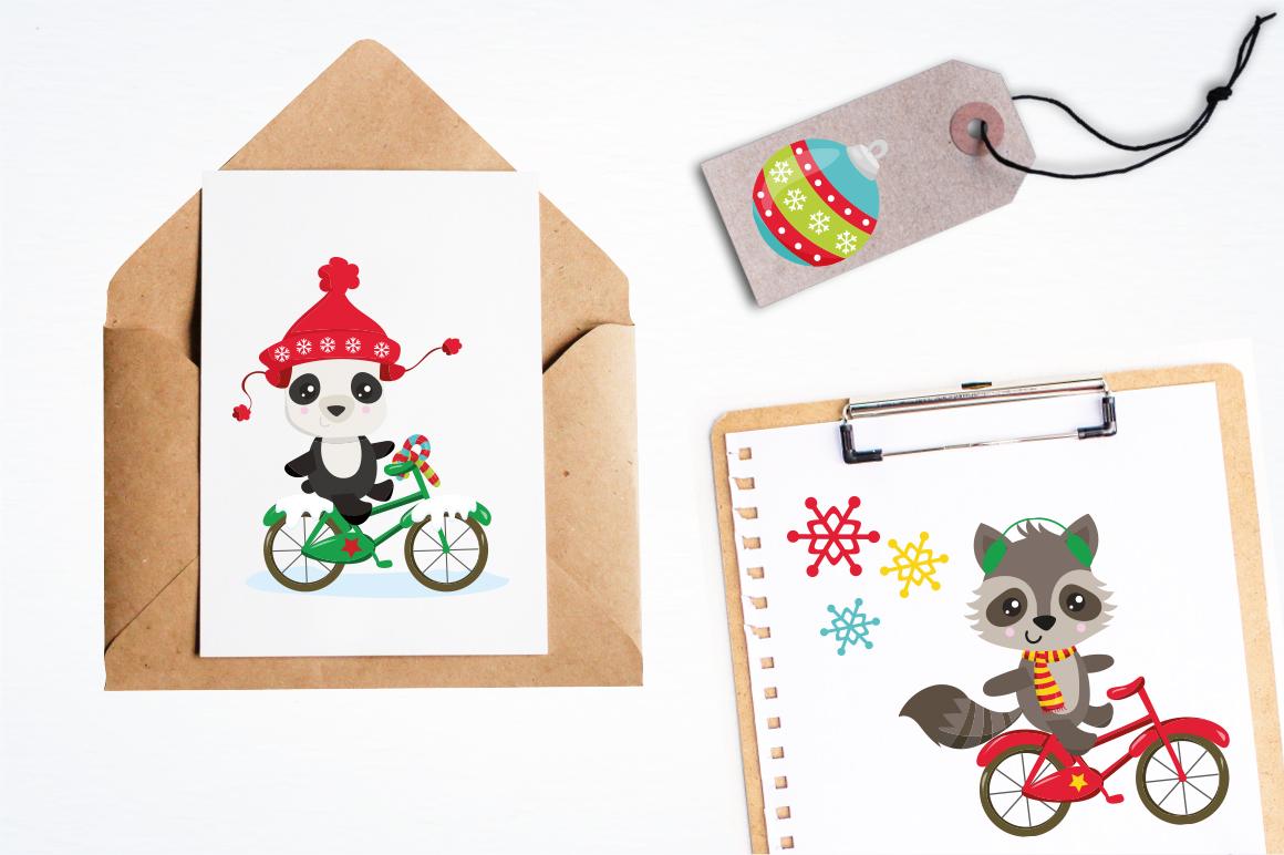 Christmas Woodland bikes graphics and illustrations example image 4