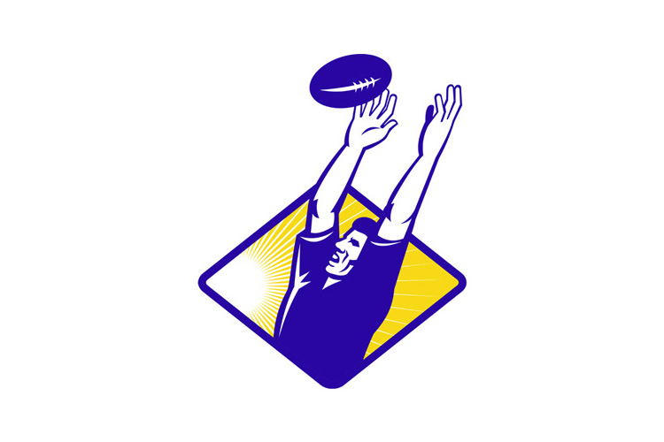 Rugby Player Catching Lineout Ball example image 1