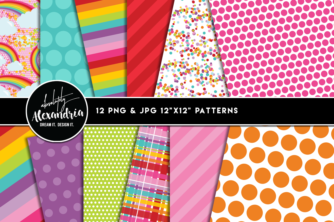 Rainbow Wishes Clipart Graphics & Digital Paper Patterns Bundle example image 2