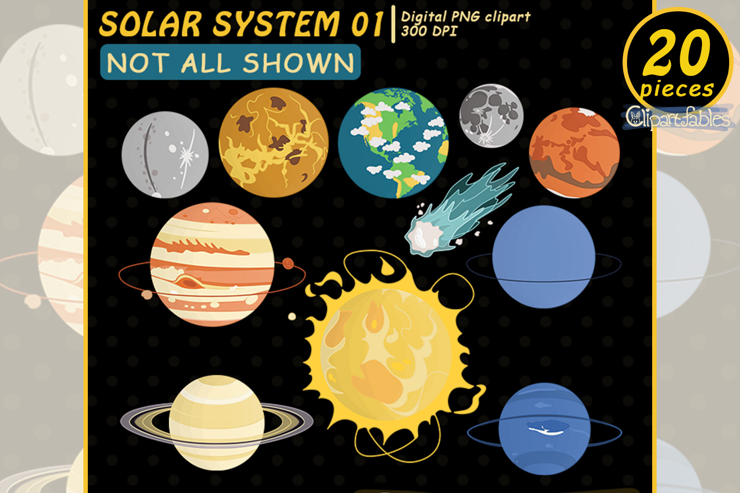 Solar system clipart, Planet clip art, Cute Space design example image 1