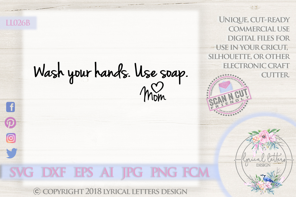 Wash Your Hands Use Soap Funny Bathroom Quote SVG DXF LL026B example image 1