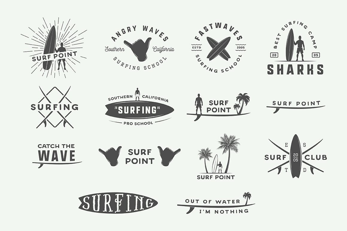 Vintage Surfing Emblems Bundle example image 12