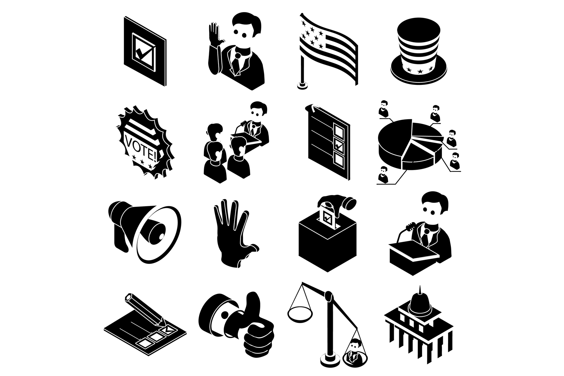 Election voting icons set, simple style example image 1