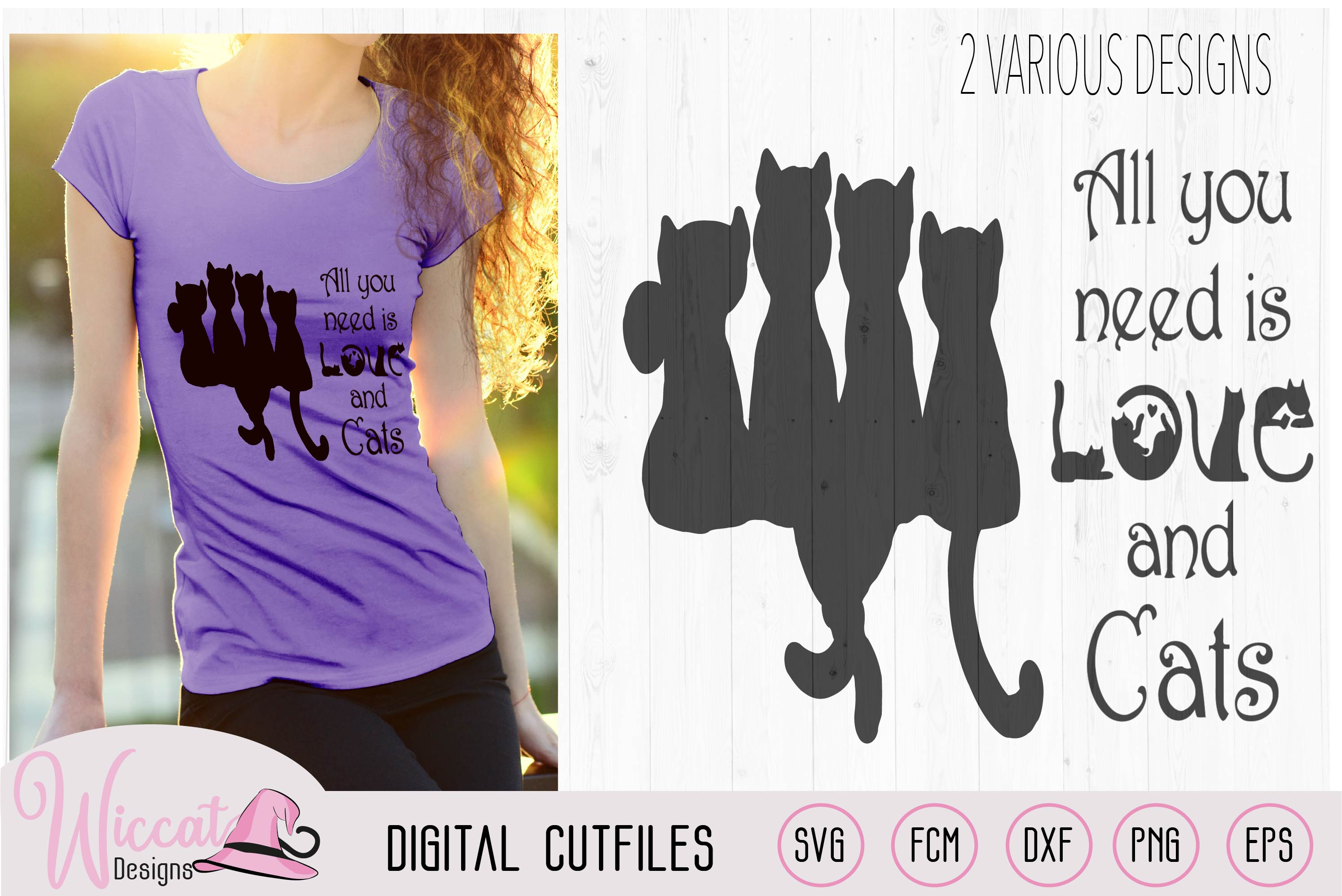 Doodle cats all you need is love, cat quote svg, word art, example image 2