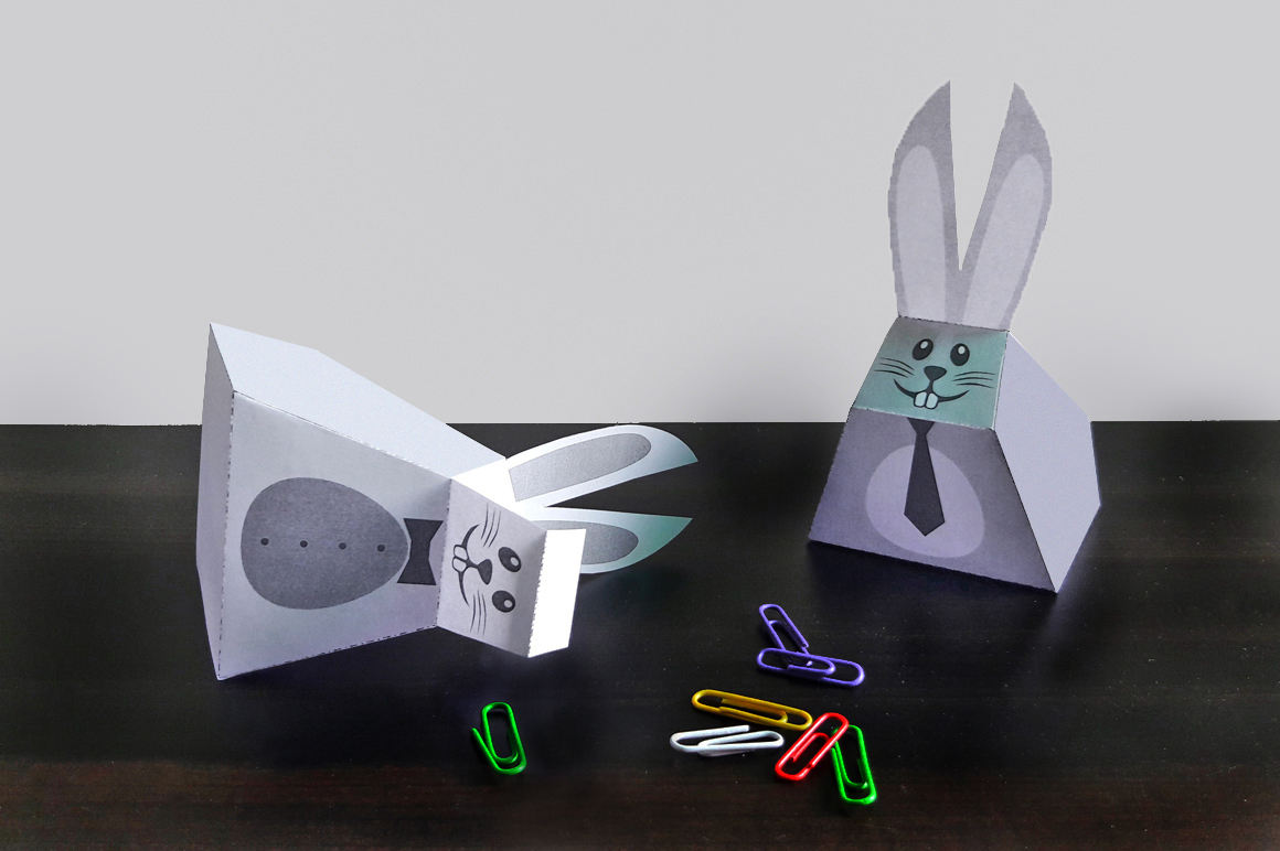 DIY Easter bunny favors - 3d papercraft example image 3