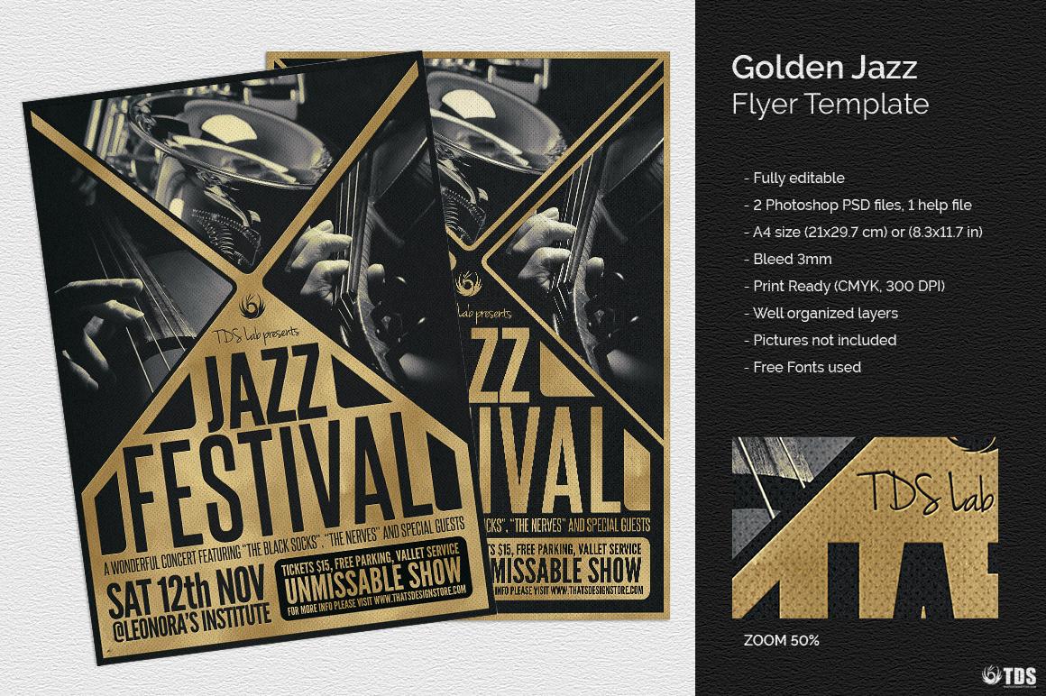 Golden Jazz Flyer Template example image 1