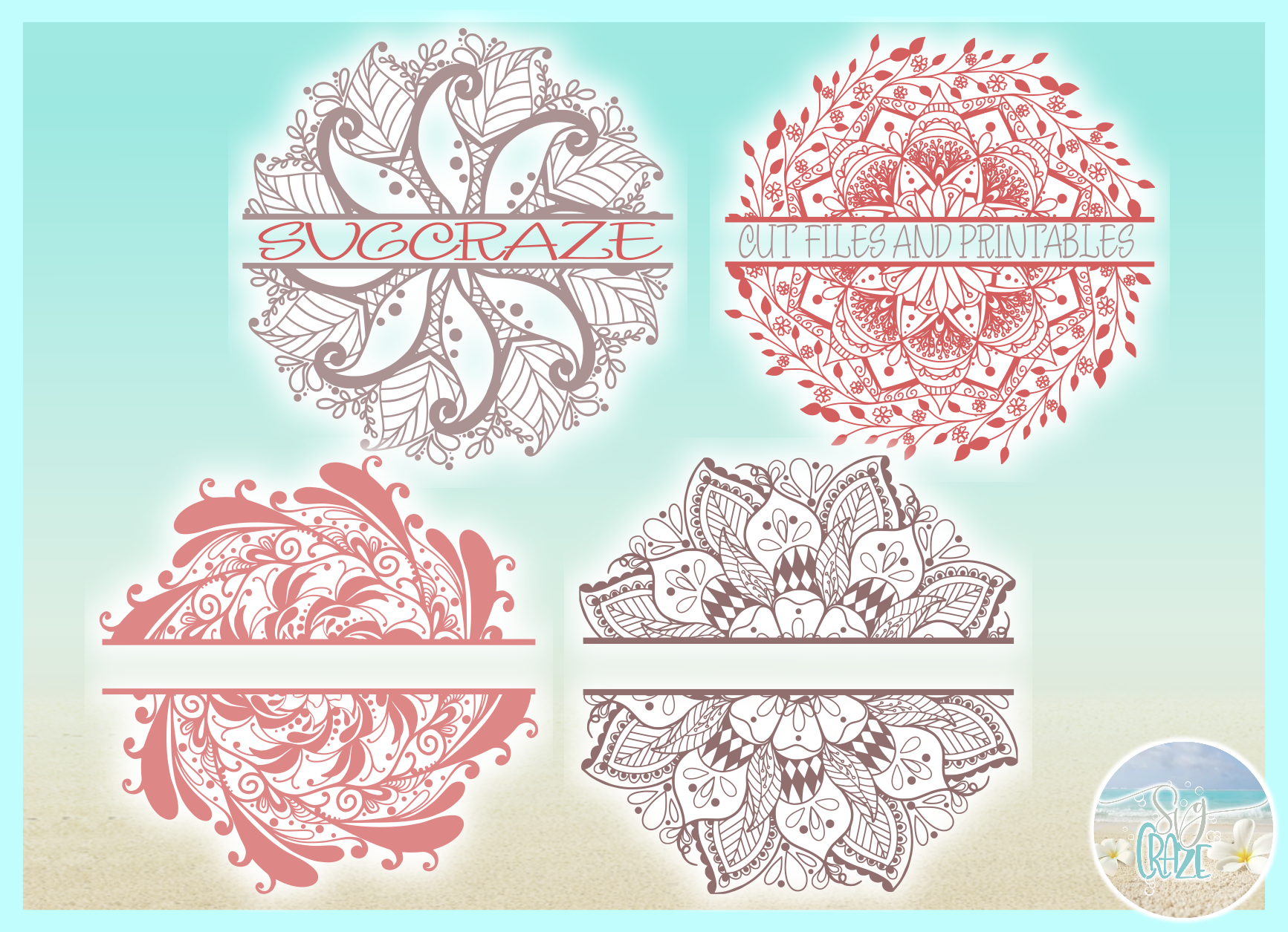 Hand Drawn Mandala Zentangle Split Frame Bundle SVG example image 2