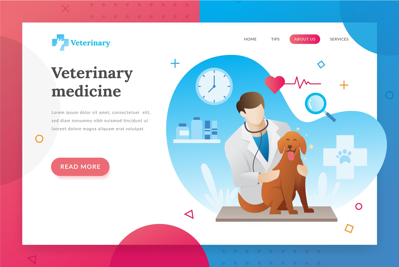Veterinarian landing page illustration example image 1