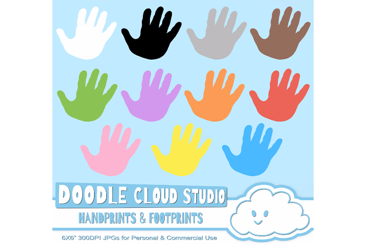 Colorful FootPrints & Handprints Cliparts, Hands Foot prints , Transparent / White Backgrounds Instant Download Personal and Commercial Use example image 2