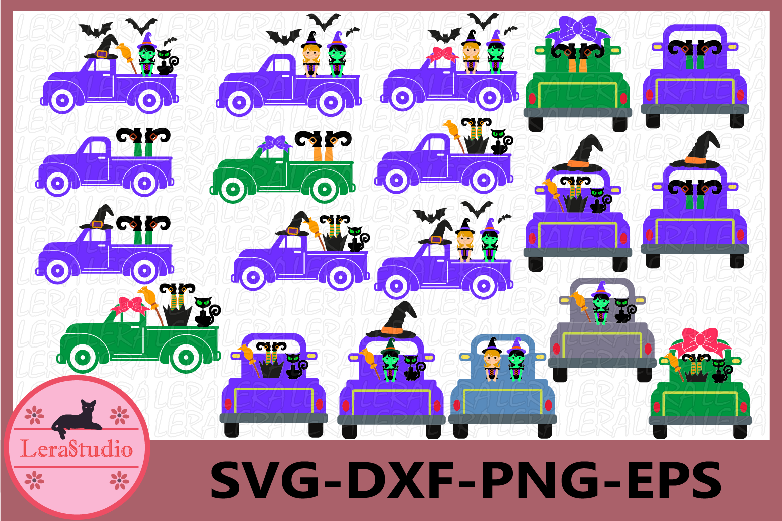 Halloween SVG, Halloween Truck Svg, Witch SVG, ClipArt example image 1