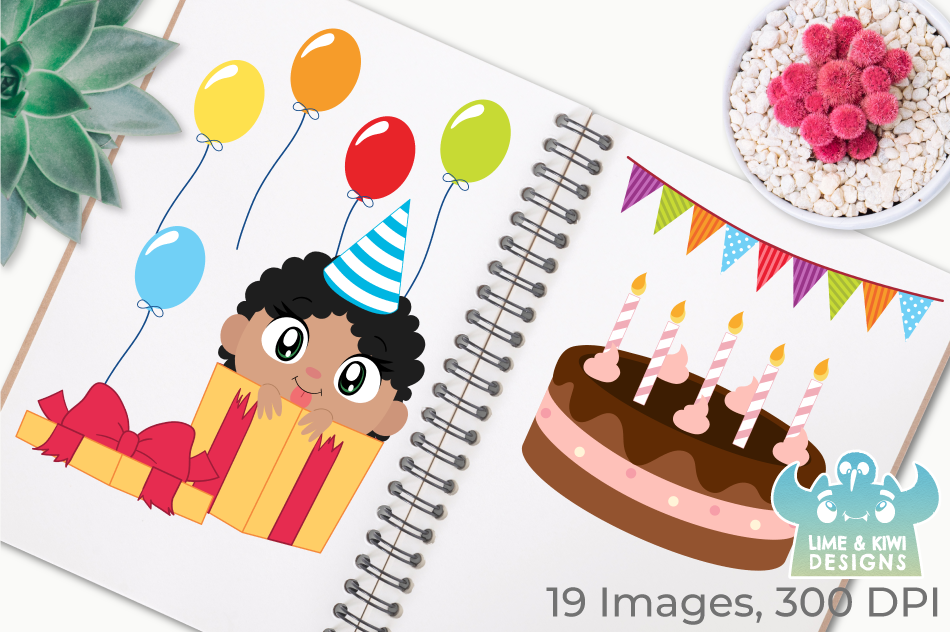Birthday Party Girls 2 Clipart, Instant Download Vector Art example image 2