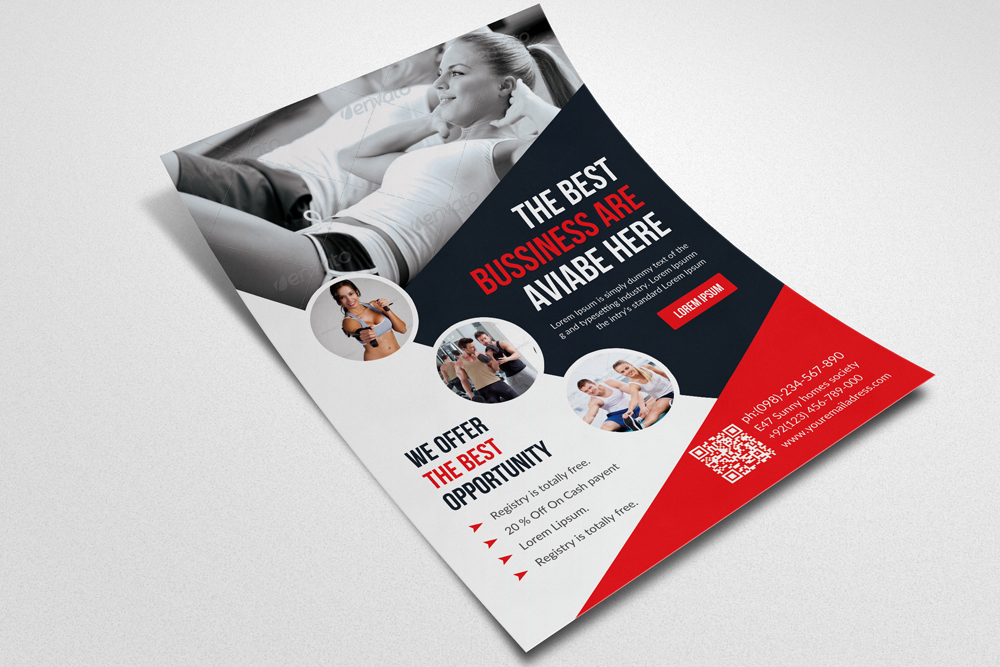 Body Fitness Club Flyer Template example image 2