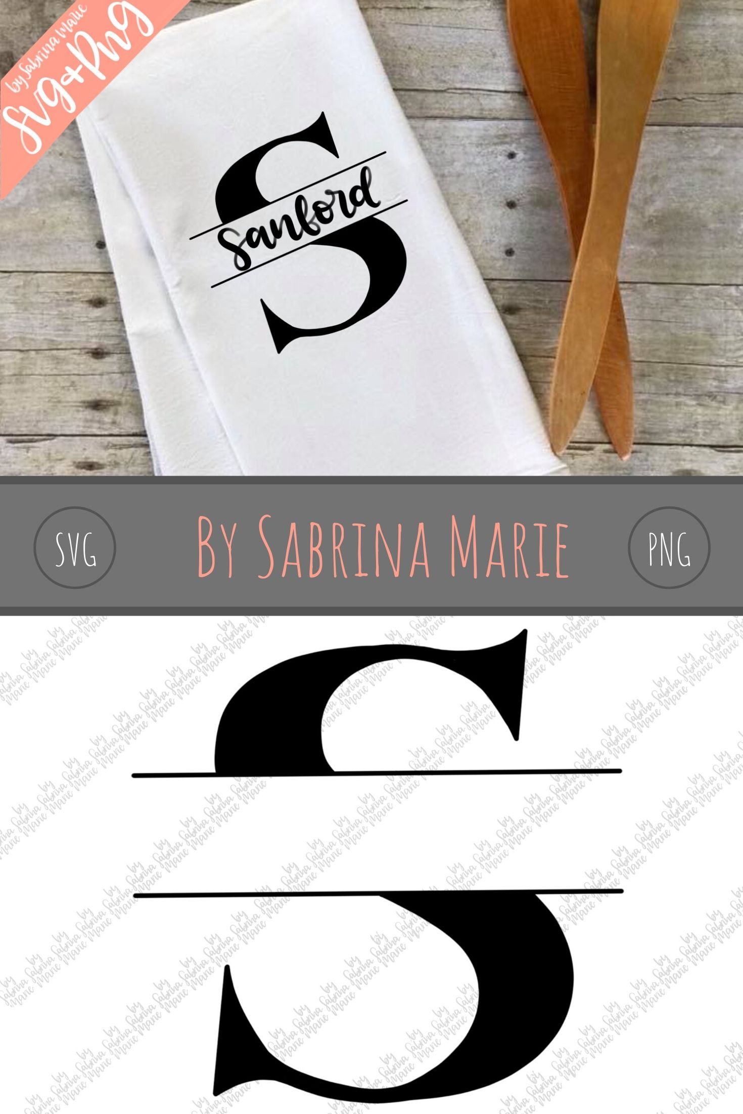 Split Monogram S - Handdrawn - SVG/PNG example image 3
