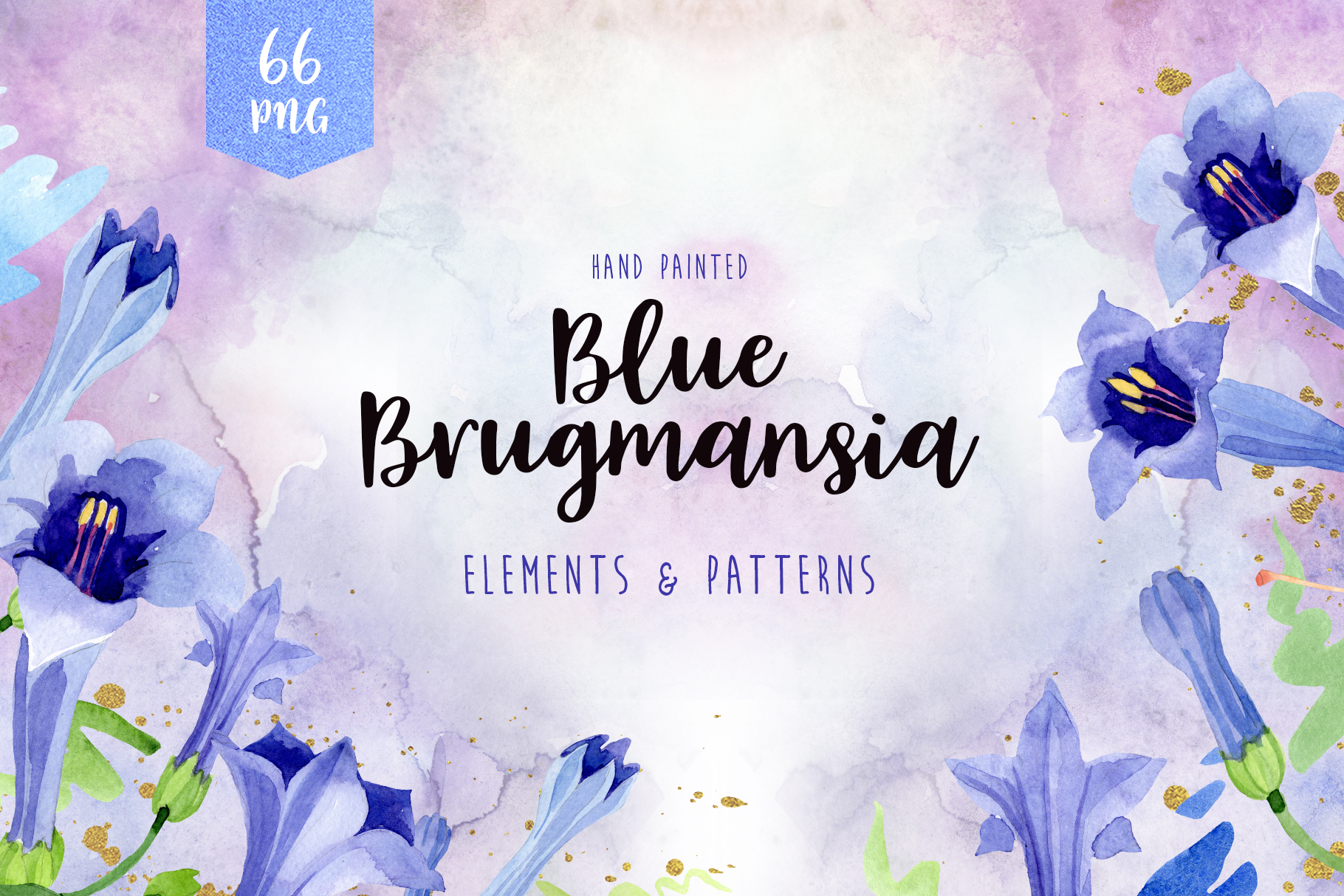 Blue brugmansia flower watercolor png example image 1