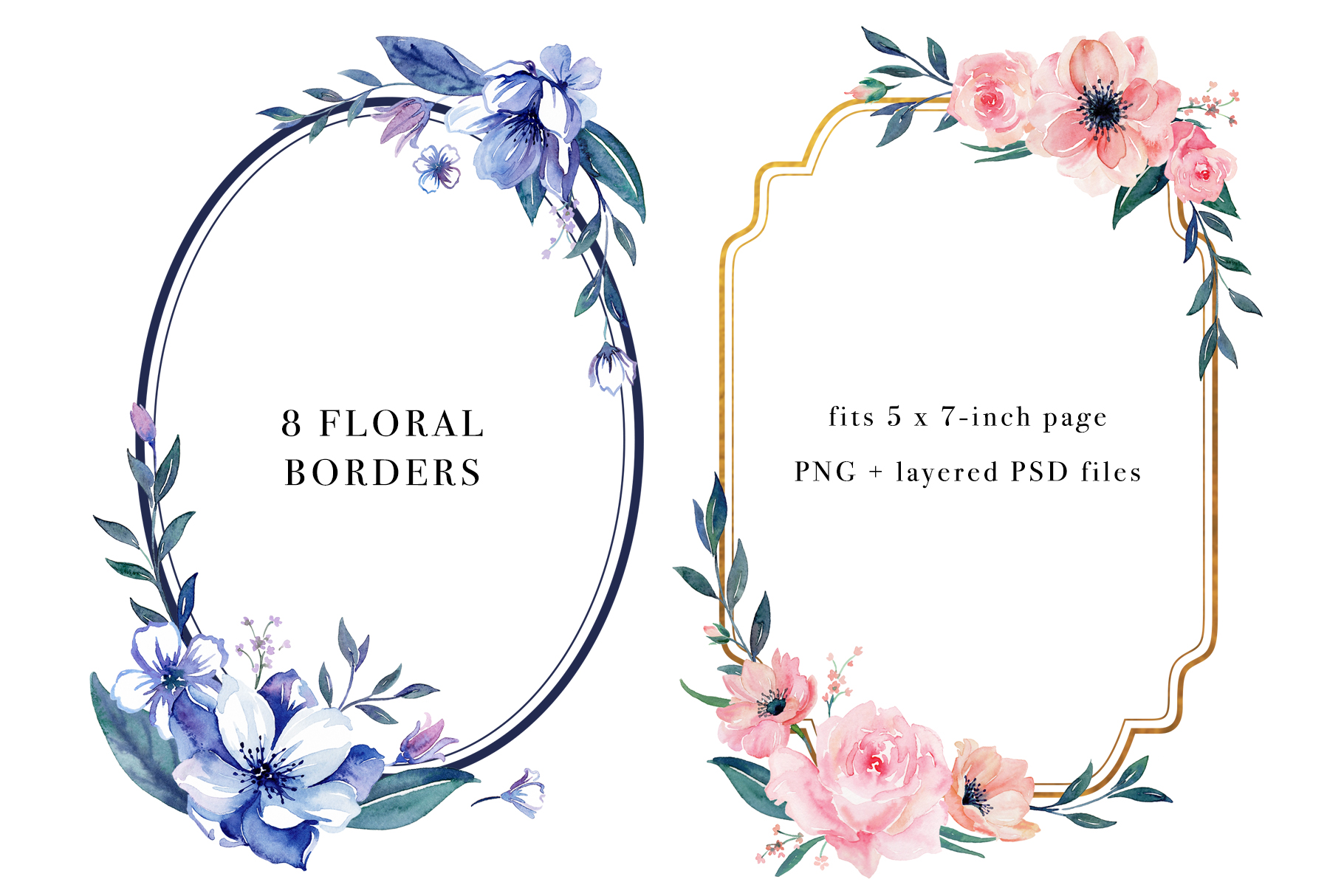 Floral Borders Watercolor Set example image 4