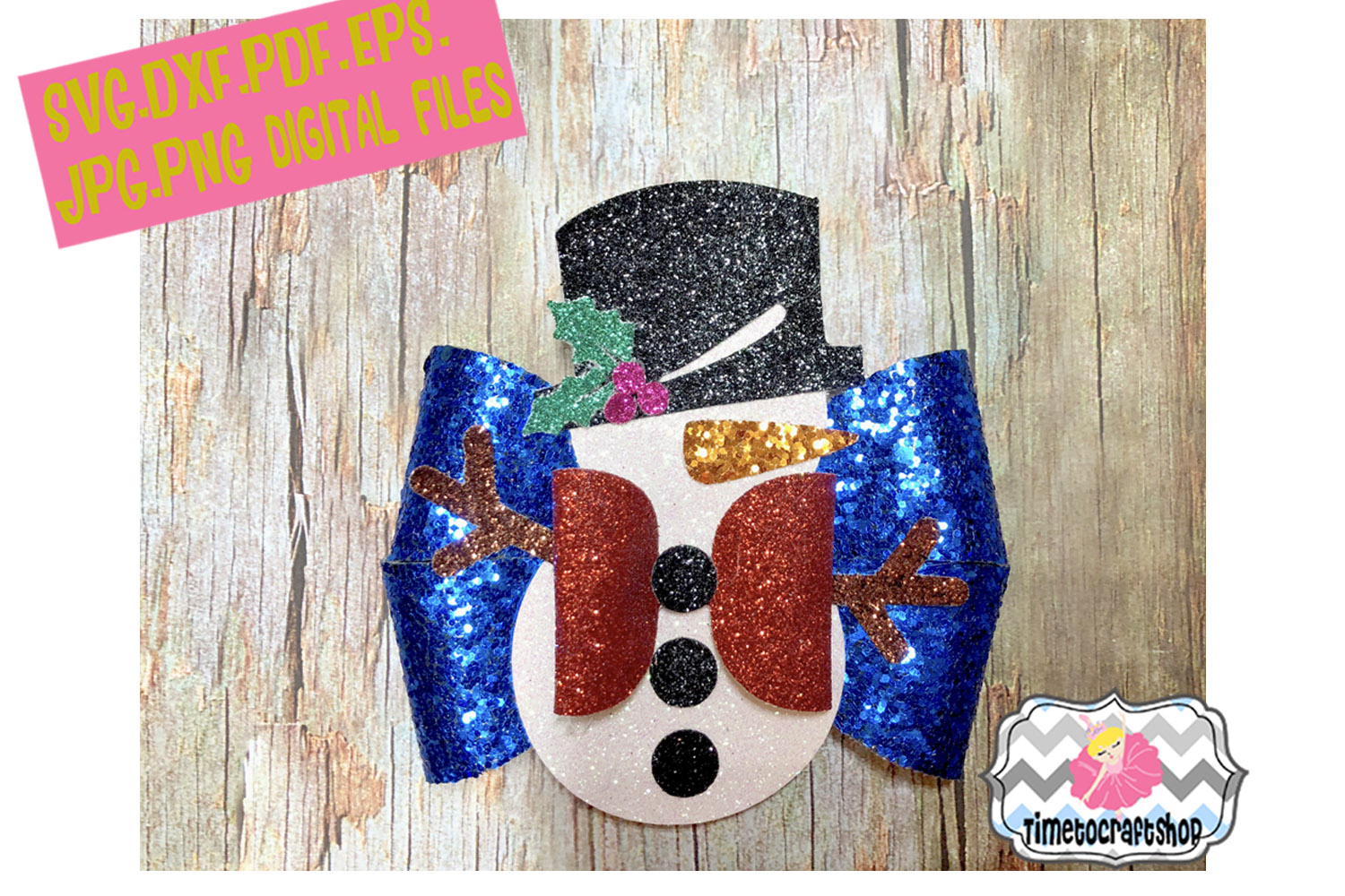 Holiday Christmas Snowman Hair Bow Template example image 1