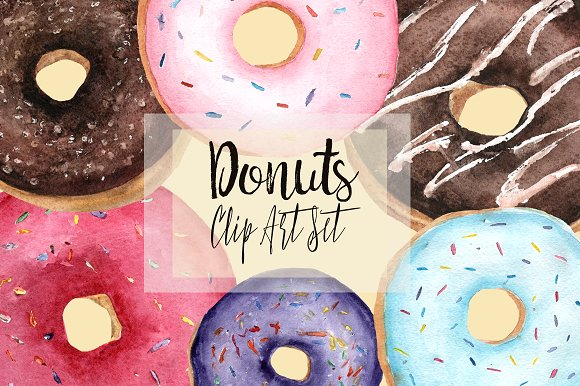 Watercolor Donuts Clip Art Set example image 1